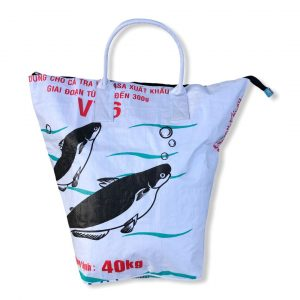 Beadbags Wäschesack / Allzwecktasche aus recycelten Reissack Ri9 in weiß von vorne