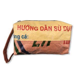 Kosmetiktasche aus recycelten Reissack in gelb orange | Beadbags