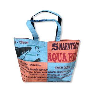 3 in 1 Tragetasche aus recycelten Reissack in orange hellblau | Beadbags