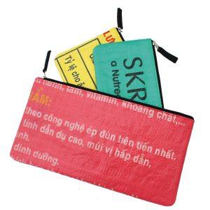 Set of three, Beadbags Crispy, Ricesack, Federmappen, Kosmetiktäschchen, nachhaltig und fair