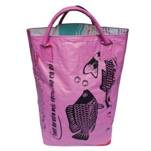 Upycycling Beadbags nachhaltige Tragetasche und Kosmetiktaschen aus recyceltem Reissackmaterial gefertigt in Kambodscha 26b