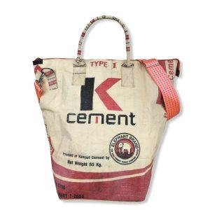 Beadbags Kleine Universaltasche _ Wäschesack aus recycelten Reissack mit Tampenjangurt TJ10S-Rot vorne