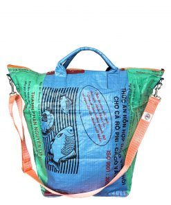 Upcycling Tampenjan Universaltaschen und Wäschesäcke aus recycltem Reissackmaterial und recycelten Spanngurten aus dem Hamburger Hafen 36 TJ