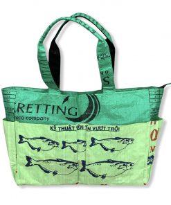 Beadbags Tragetasche / Wickeltasche aus recycelten Reissack Ri82 Dunkelgrün/Hellgrün