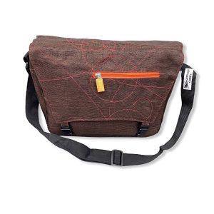 Beadbags Upcycling Schultertasche Net6 Braun