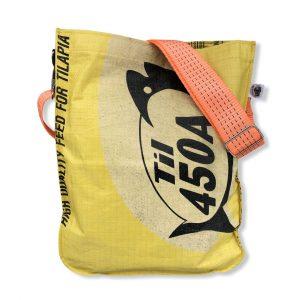 Einkaufstasche aus recycelten Reissack mit Schultergurt aus recycelten Spanngurten in gelb mit orange | Beadbags