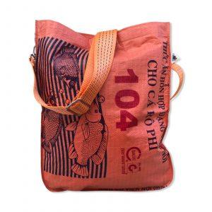 Einkaufstasche aus recycelten Reissack mit Schultergurt aus recycelten Spanngurten in orange mit orange | Beadbags