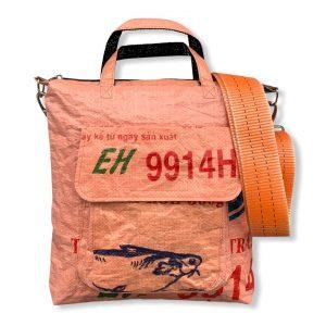Beadbags Tragetasche aus recycelten Reissack mit Tampenjan Hochseegurt Ri2 hinten orange