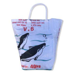Beadbags Kleine Universaltasche / Wäschesack aus recycelten Reissack Ri9.2 Weiß vorne