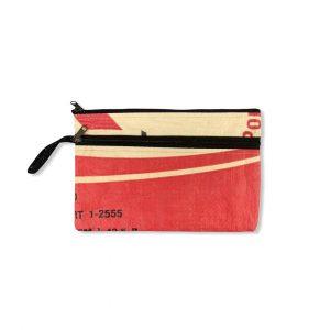 Beadbags Doppelreißverschluss Federmappe aus recycelten Zementsack Ri74 rot vorne