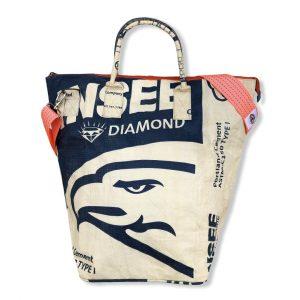 Beadbags Kleine Universaltasche / Wäschesack aus recycelten Reissack mit Tampenjangurt TJ12S Blau vorne