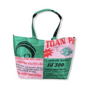 Tragetasche 3 in 1 aus recycelten Reissack in rosa dunkelgrün von Beadbags | Beadbags