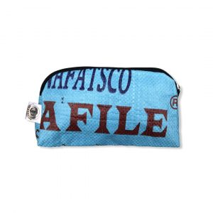 Kosmetiktasche aus recycelten Reissack in blau | Beadbags