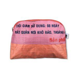 Kosmetiktasche aus recycelten Reissack in rosa orange | Beadbags