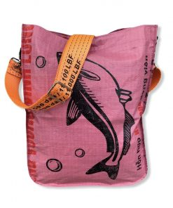 Rosa Einkaufstasche mit orangenem Tragegurt von vorne