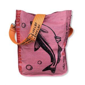 Einkaufstasche aus recycelten Reissack mit Schultergurt aus recycelten Spanngurten in rosa weiß mit orange | Beadbags