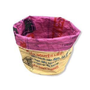 Pflanzenbehälter aus recycelten Reissack in gelb rosa   Beadbags