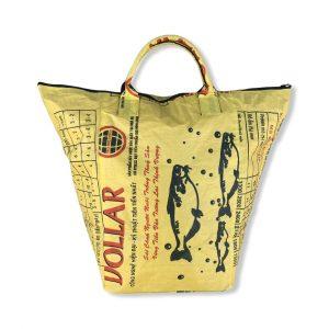 Wäschesack aus recycelten Reissack in gelb   Beadbags