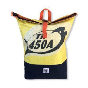 Life Backpack Rucksack aus recycelten Reissack in gelb | Beadbags