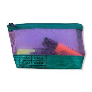 Kosmetiktasche aus reused Moskitonetz in rosa und grün   Beadbags