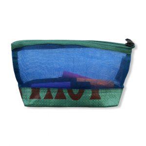 Kosmetiktasche aus reused Moskitonetz in blau und grün | Beadbags