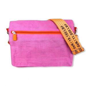 Schultertasche aus reused Moskitonetz mit Schultergurt aus recycelten Spanngurten in Pink mit Orange   Beadbags