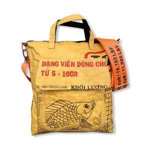 Tragetasche mit Hochseegurt aus recycelten Reissack in gelb