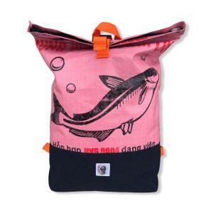 Life Backpack Rucksack aus recycelten Reissack in rosa | Beadbags