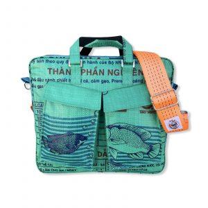 Tragetasche Twin Pockets aus recycelten Reissack mit Hochsee Schultergurt in mittelgrün dunkelblau mit orange | Beadbags