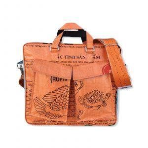 Tragetasche Twin Pockets aus recycelten Reissack mit Hochsee Schultergurt in orange hellblau mit orange | Beadbags