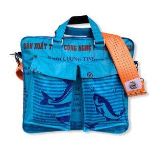 Tragetasche Twin Pockets aus recycelten Reissack mit Hochsee Schultergurt in mittelblau dunkelblau mit orange   Beadbags