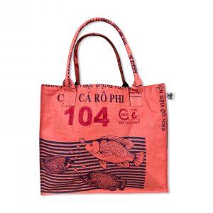 Einkaufstasche aus recycelten Reissack von Beadbags in orange   Beadbags