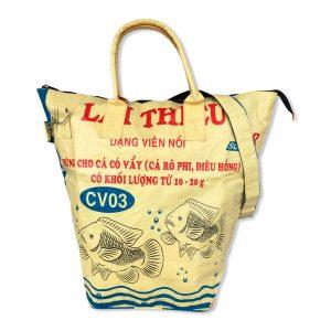 Beadbags Wäschesack aus recycelten Reissack mit Reißverschluss und Tragegurt in gelb | Beadbags