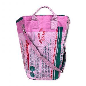 Beadbags Multifunktionaler Wäschesack recycelter Reissack Ri8.1 rosa kariert 1 vorne