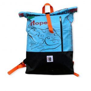 Beadbags Upcycling Rucksack Ri99 mittelblau vorn